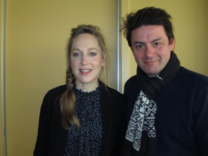 Actors Hattie Moran and Dominic Rowan in the WNYC studios