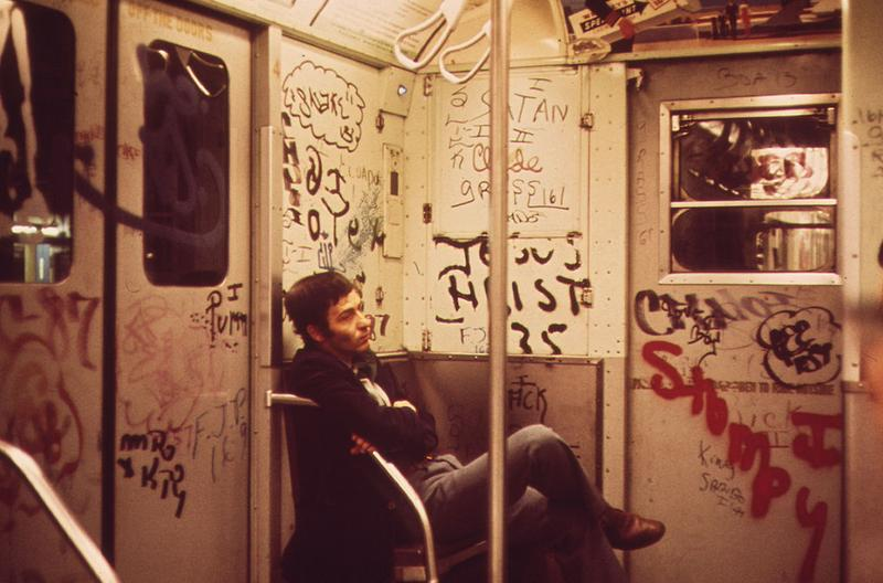 Heavily tagged subway car of the NYC subway in 1973