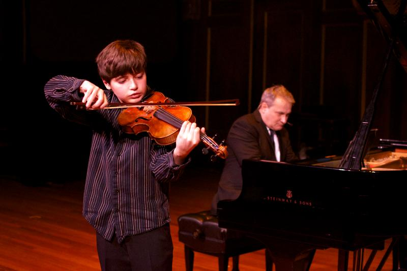 Violinist Henry Ayanna with Christopher O'Riley.