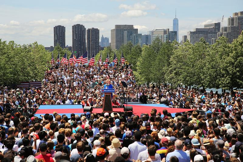 Democratic Presidential candidate Hillary Clinton speaks at her official kickoff rally at the Four Freedoms Park on Roosevelt Island in Manhattan on June 13, 2015 in New York City.