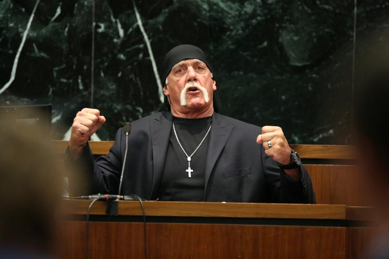 Terry Bollea, aka Hulk Hogan, testifies in court during his trial against Gawker Media at the Pinellas County Courthouse on March 8, 2016.