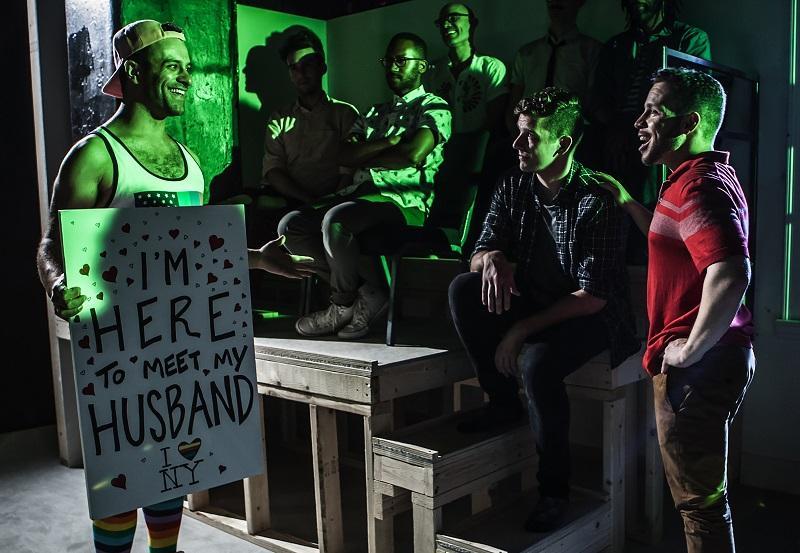 "(L-R) Aaron Costa Ganis, Michael Urie, Robin De Jesús in ""Homos, or Everyone in America."""