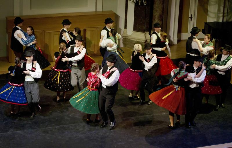 Hungarian folk dancing in Budapest.