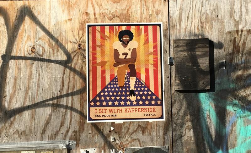 "Artist Jeff Rothberg's ""I Stand with Kaepernick"" Poster in Brooklyn"