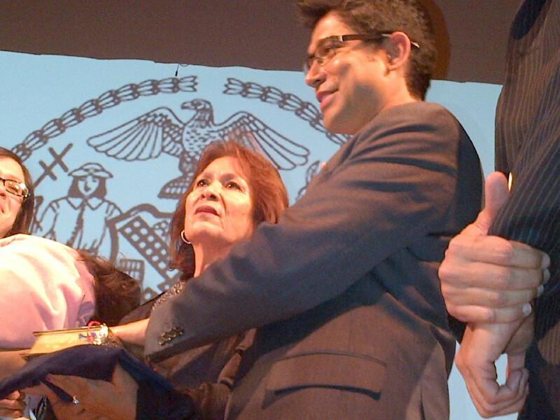 At the inauguration of Councilman Carlos Menchaca with his mother Magdalena.