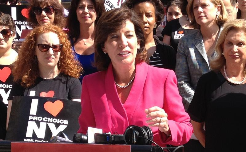 Kathy Hochul speaks during an August press conference in Manhattan.