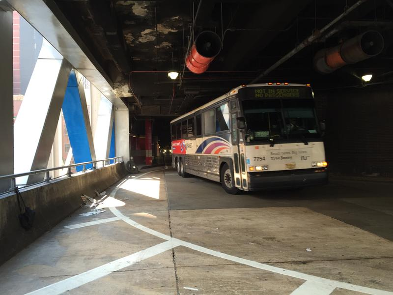 A bus in the Port Authority Bus Terminal