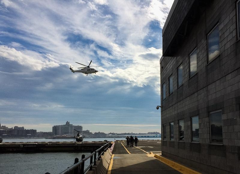 A helicopter taking off at the Downtown Manhattan Heliport. The city has come to an agreement to reduce the number of tourist rides by 50 percent in 2017.