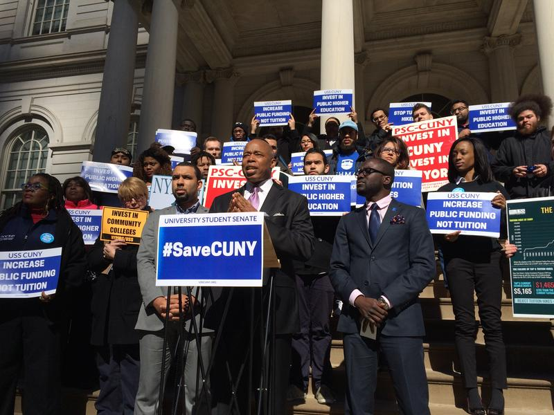 BK Borough President Eric Adams speaks at a rally to protest the  governor's proposed cuts to CUNY/Yasmeen Khan