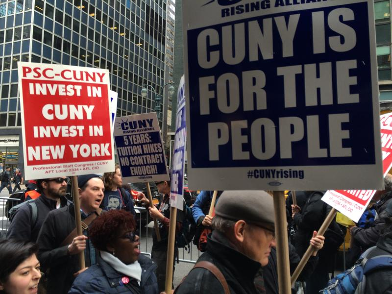 Protesters in March called for more state funding for CUNY (Yasmeen Khan / WNYC).