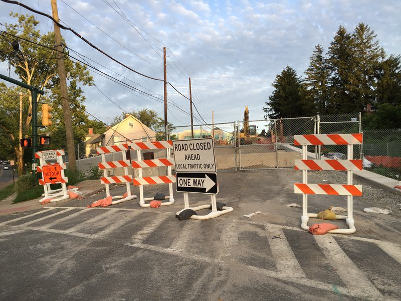 Stalled road construction project in Summit, New Jersey