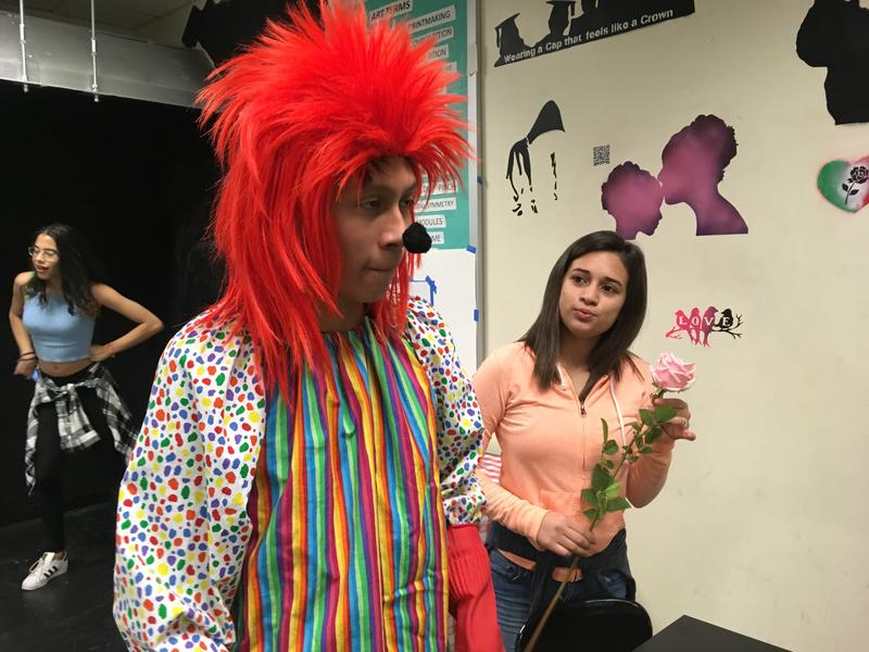 Bryan Morales and Liny Carrillos deconstruct a sensationalized news story about creepy clowns for a photography project at Sunset Park High School.