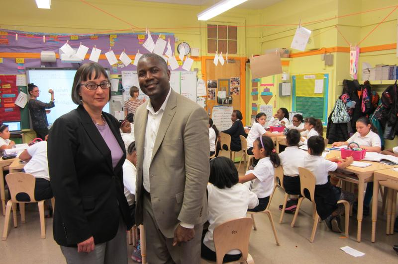 Martha Zornow, principal of the future Girls Prep Bronx Middle School, at the elementary site with Ian Rowe, who runs the schools' Public Prep network.