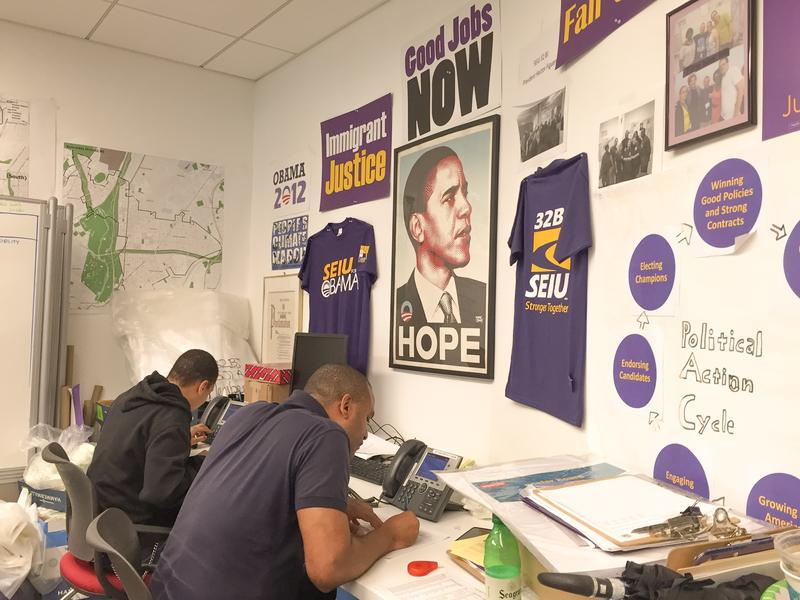 Clinton volunteers make calls from the offices of 32BJ Union in Manhattan. Janet Babin/WNYC