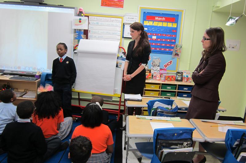 Eva Moskowitz (right) observing a fourth grade math class at Harlem Success 4.