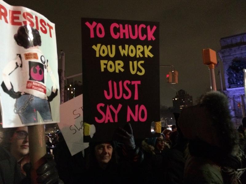 Protesters at Grand Army Plaza put pressure on Senator Chuck Schumer