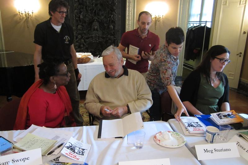Stephen Sondheim signing an autograph for Naimah Hasan, a teacher at the Clinton School for Writers and Artists
