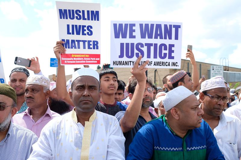 Muslims from across the city gathered in Ozone Park to pray for Imam Maulama Akonjee, 55, and Thara Uddin, 64, who were shot dead after leaving their mosque.