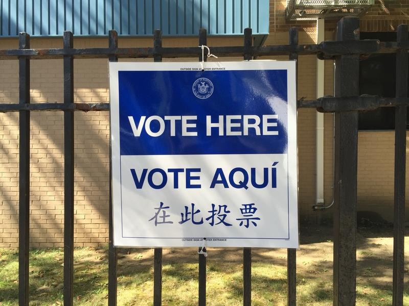 Sign at poll station at 332 Linwood Street, East New York