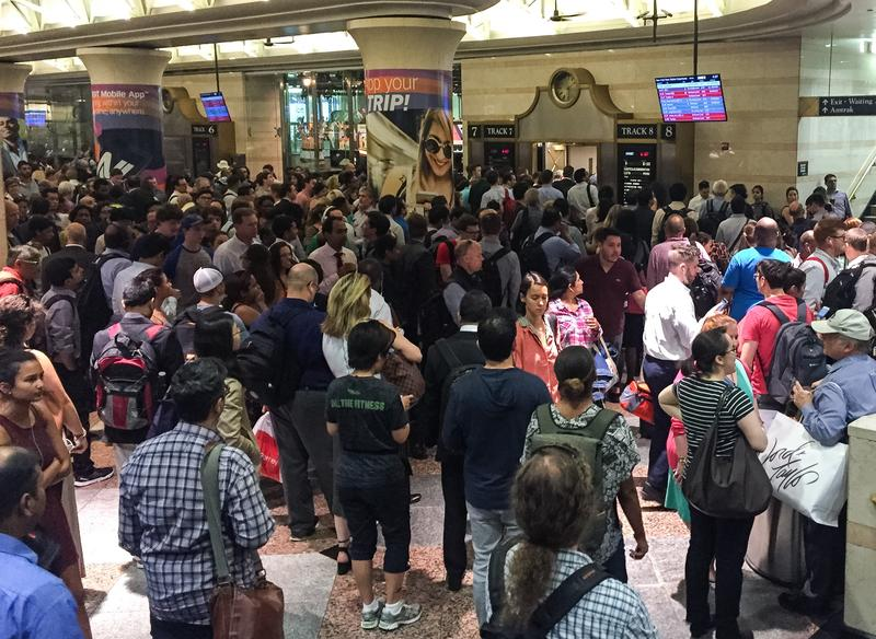 NJ Transit passengers waiting to board trains in Penn Station