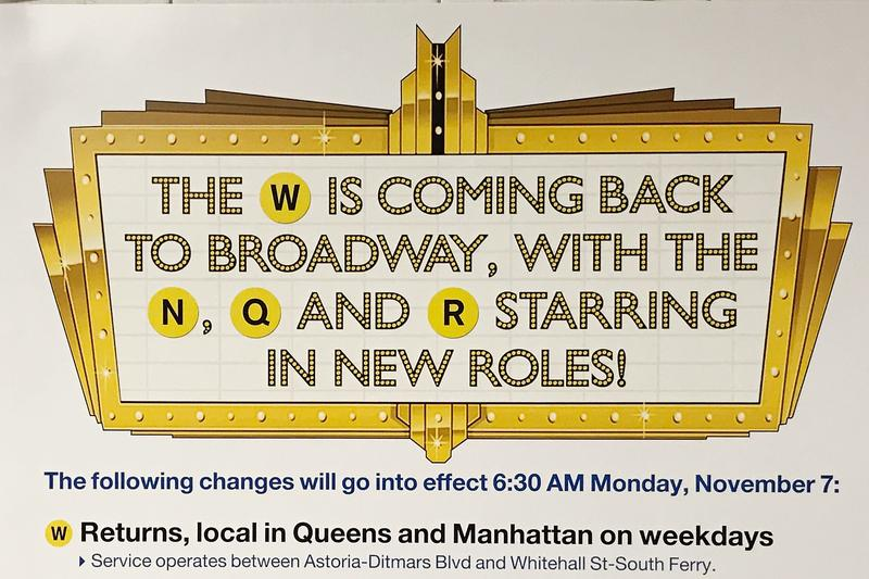 poster announcing the return of the W subway line