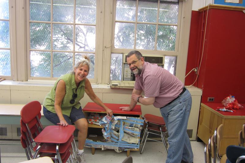 April McConnell and her husband Roddy, who helps her arrange her second grade classroom each year at P.S. 130