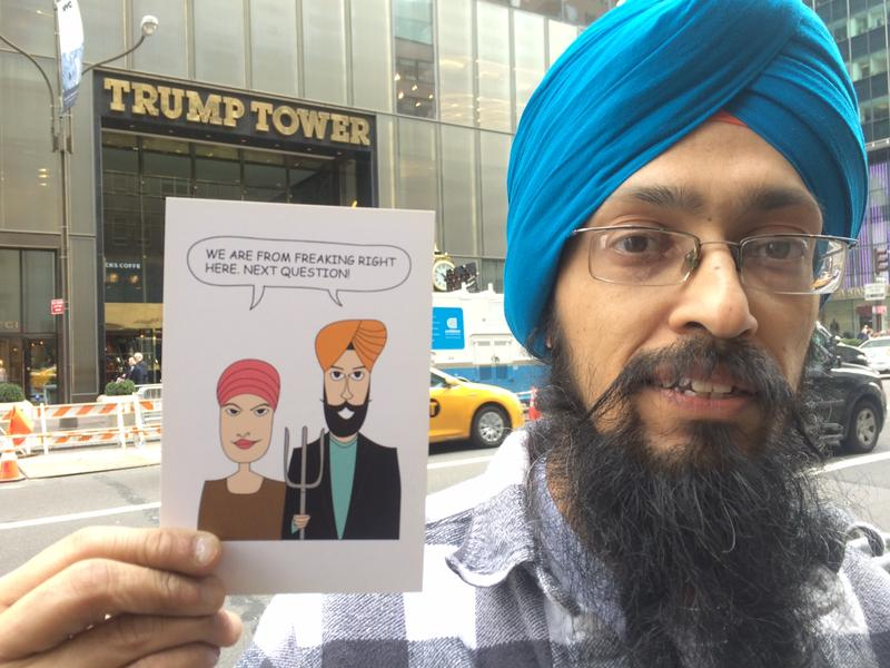 Vishavjit Singh gets people to send his postcards to Donald Trump. Trump hasn't written back.