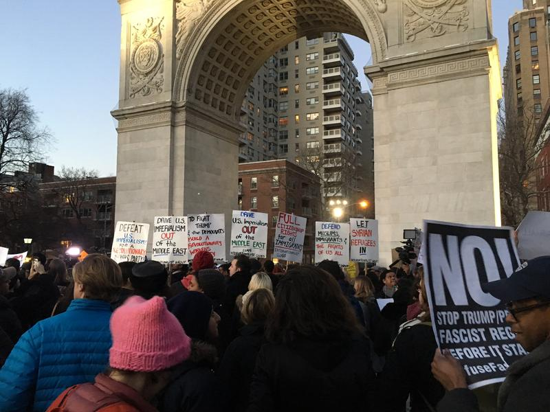 Hundreds protest under Donald Trump's policies under the arch in  Washington Square Park. (Annmarie Fertoli).