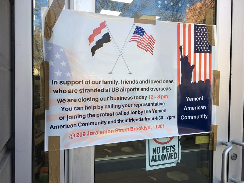 A sign posted on the store of a Yemeni-owned store in the Bronx, in protest of President Donald Trump's ban on travel from seven majority Muslim countries.