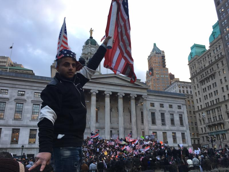 A Yemeni American at a rally at Brooklyn Borough Hall, where hundreds gathered in protest of the travel ban from seven Muslim majority nations.