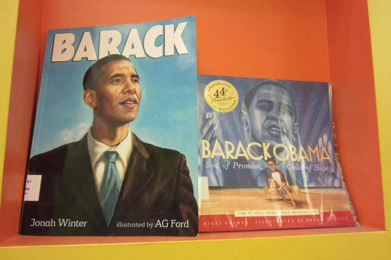 Barack Obama books in a Manhattan elementary school