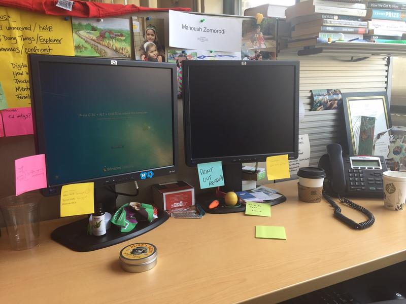 My desk at WNYC, covered with just some of the notes I leave for myself.