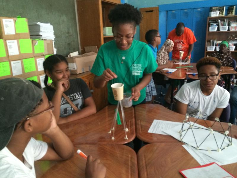 South Bronx middle school students learn basic engineering and architectural concepts at a summer camp with staffers from the city's Department of Design and Construction.