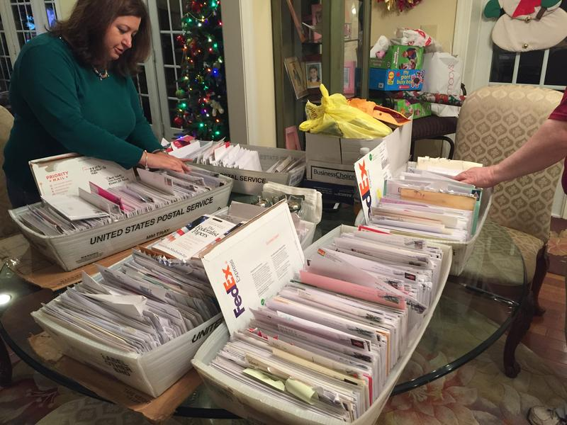Lee Snover, Pennsylvania elector, in her home going through mail ahead of the Dec. 19, 2016 Electoral College vote.