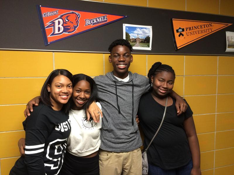 Success Academy High School Students (left to right) Nashya Pope,  Suneil Jeter, Kelvin Jennings and Ananda Shannon (Beth Fertig/WNYC).