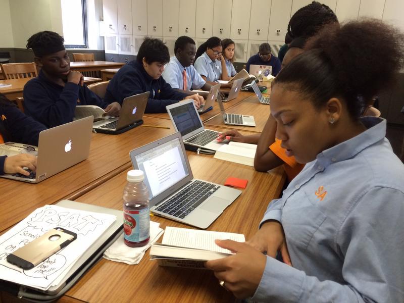 10th and 11th graders in an English class at Success Academy high  school (Beth Fertig/WNYC).
