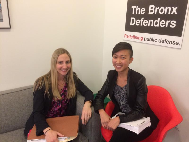 Sarah Deri Oshiro (left) and Courtney Lee at Bronx Defenders, which is part of the N.Y. Immigrant Family Unity Project.