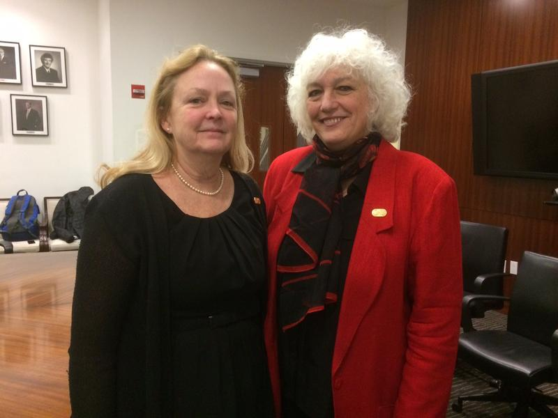 Immigration judges Denise Slavin (left) and Dana Marks at New York Law School. Slavin is Executive Vice President and Marks is President of the National Association of Immigration Judges.