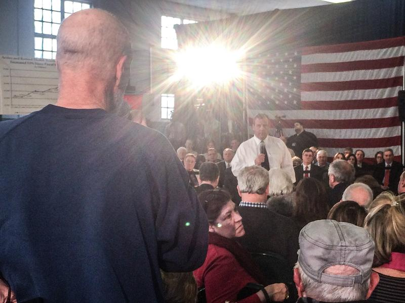 New Jersey Gov. Chris Christie addressing a town hall meeting in Moorestown, NJ, on Feb. 22.