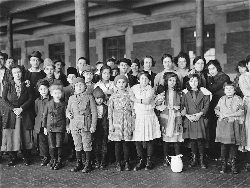 Immigrant children, Ellis Island, New York, in 1908.