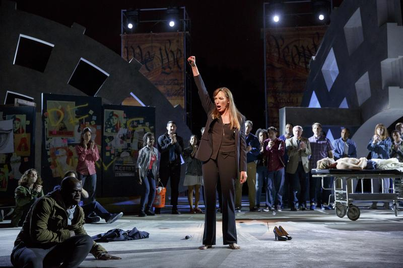 """Elizabeth Marvel stars as Marc Antony in The Public Theater's Free Shakespeare in the Park production of """"Julius Caesar."""""""
