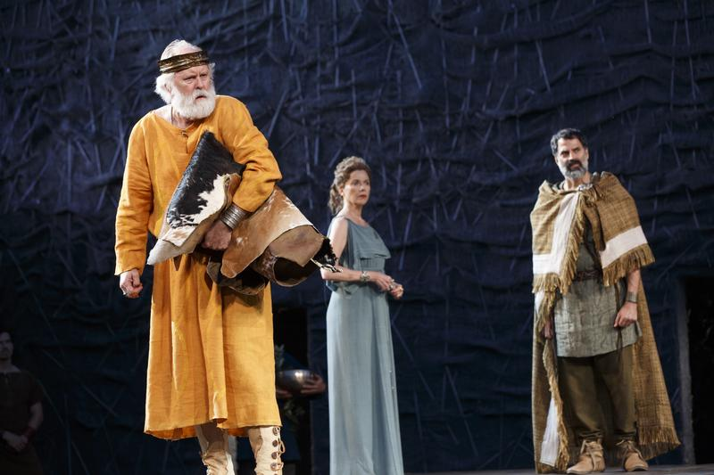 John Lithgow, Annette Bening, and Christopher Innvar inThe Public Theater's free Shakespeare in the Park production of King Lear, directed by Daniel Sullivan, July 22-August 17, 2014.