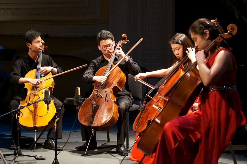 The Konpeito Cello Quartet: Jeremy Tai, Minku Lee, Catherine Kim and Irene Jeong.
