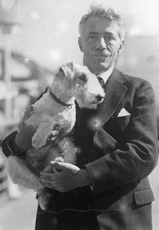 Violinist Fritz Kreisler in October 1930 with dog on board Europa travelling to New York.