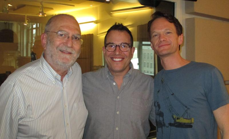 Leonard Lopate, Michael Mayer, and Neil Patrick Harris in the WNYC studios