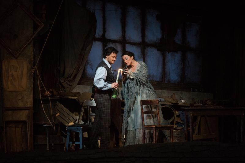 "Vittorio Grigolo as Rodolfo and Anita Hartig in her Met debut as Mimì in Puccini's ""La Bohème."""