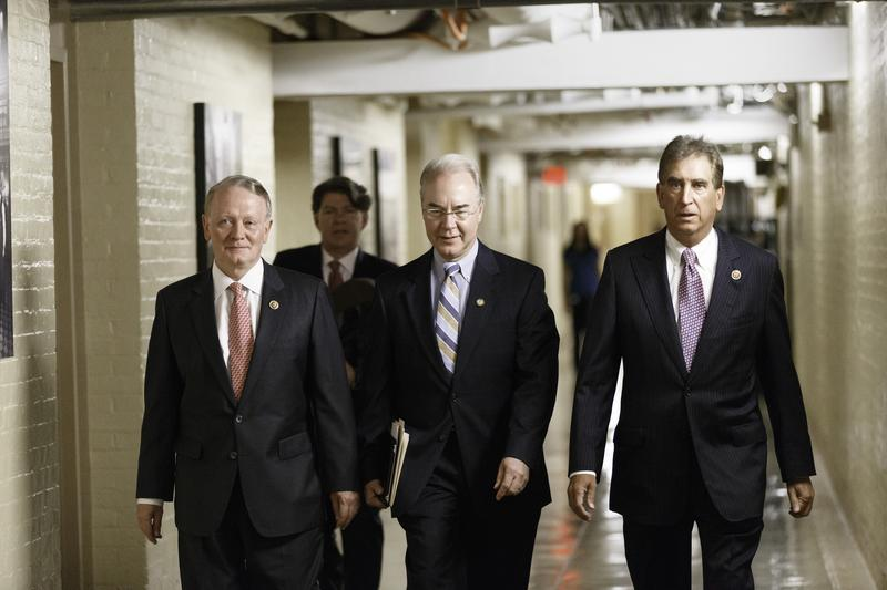 Rep. Leonard Lance walks with then-Rep. Tom Price at the Capitol in 2014. Now Secretary of Health and Human Services, Price is trying to sell a bill Lance says he can't vote for.