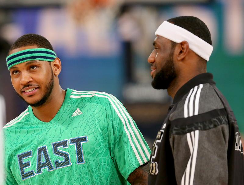 Carmelo Anthony and LeBron James at the 2014 NBA All-Star Game.