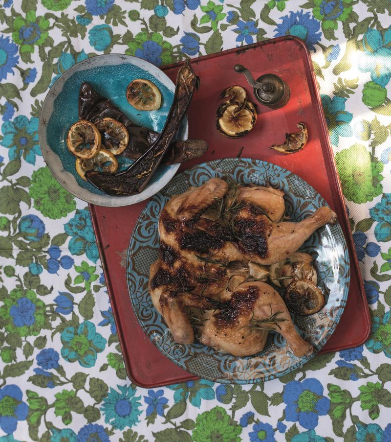 "Lemon Chicken with Green Harissa and Roast Eggplant Puree (Reprinted with permission from ""The Red Rooster Cookbook: The Story of Food and Hustle in Harlem"" by Marcus Samuelsson)"