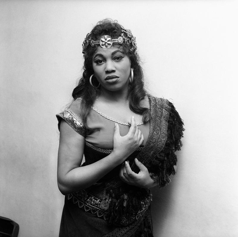 Soprano Leontyne Price posing with costume during the rehearsal of Verdi's 'Aida' at the Scala Theatre of Milan in April 1963.